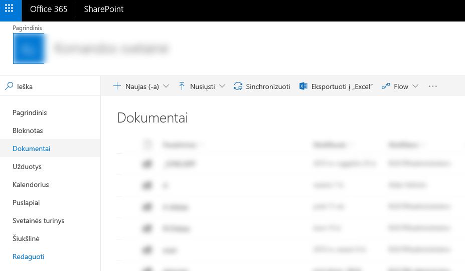 Office365 SharePoint Mokymai